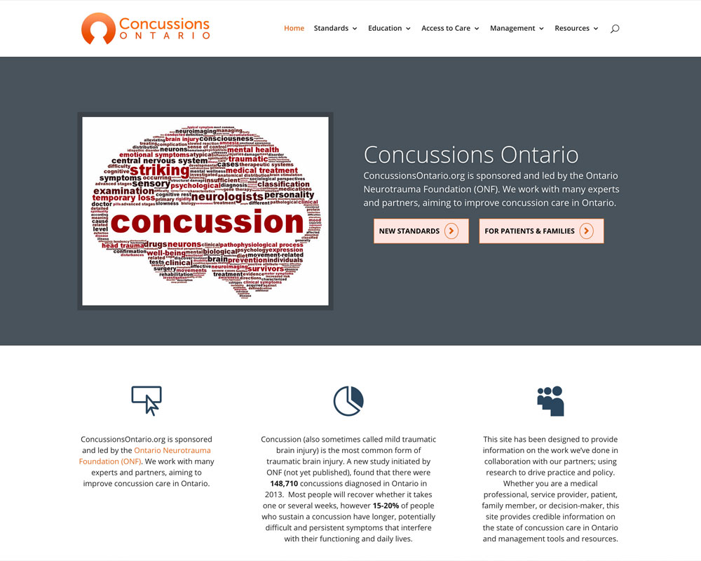 Concussions Ontario - website design - website development