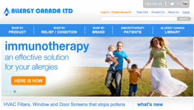 Allergy Canada - website design - website development