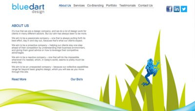 Blue Dart Design - website development