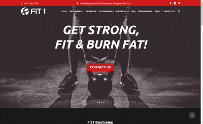 Fit1 Bootcamp - website design - website development