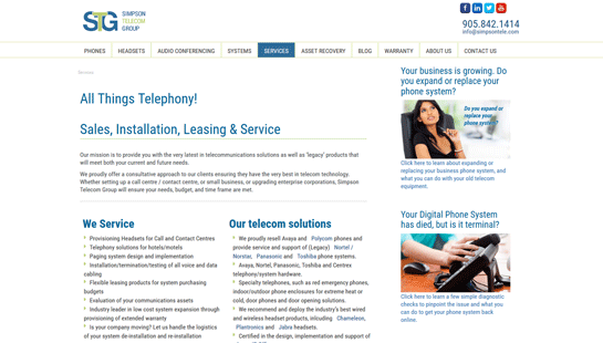 Simpson Telecom Group - website design - website development