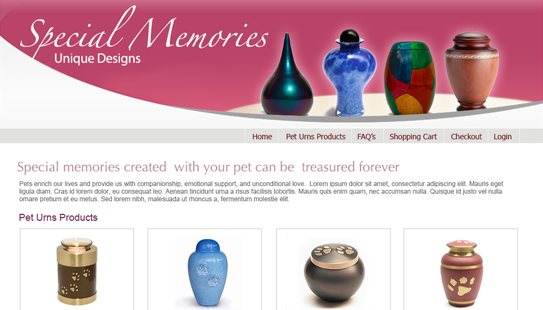Rosebud Pet Memorials - website design - website development
