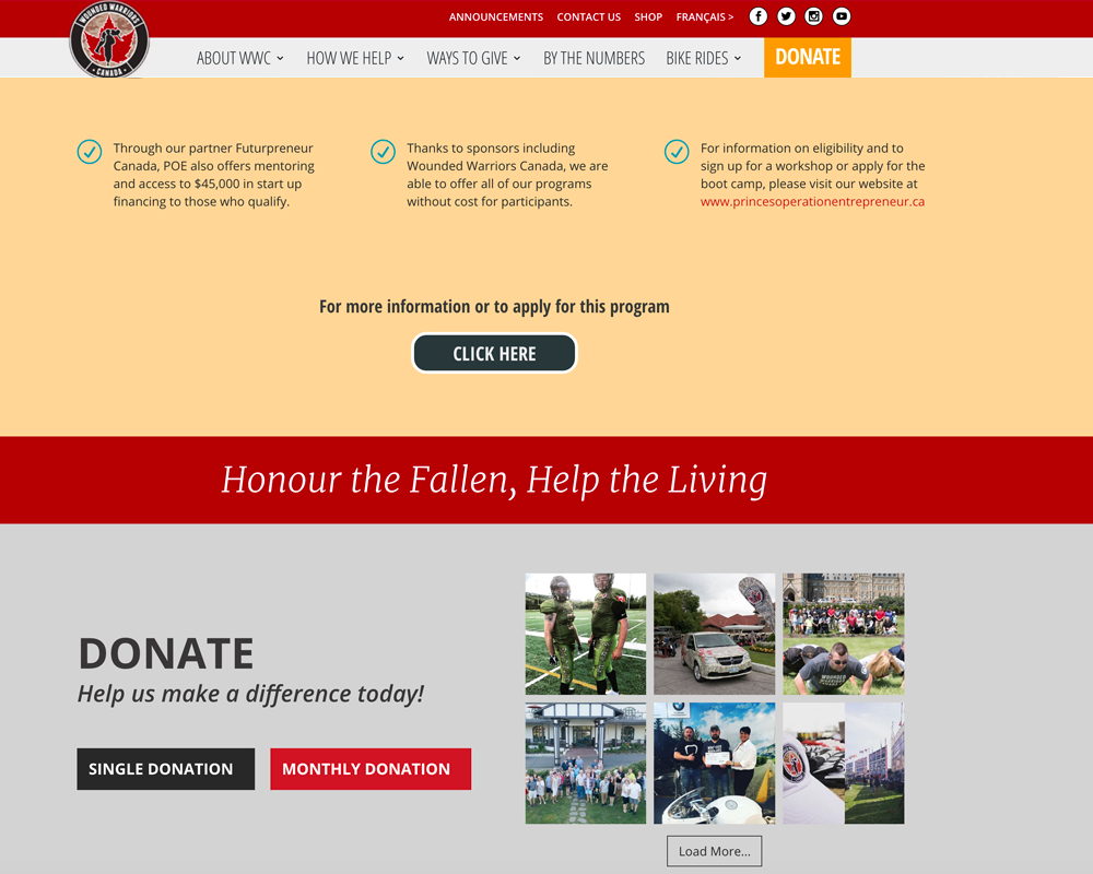 Wounded Warriors - Website Design and Development by SeeThrough Web - Toronto, Canada