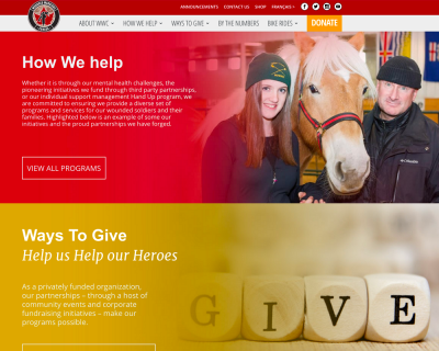 Wounded Warriors Canada - website design - website development